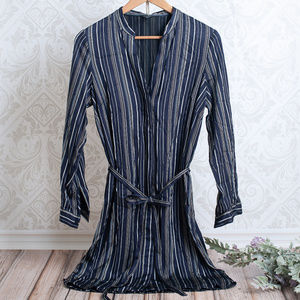 ANN TAYLOR Striped Shirt Button Front Belted Dress
